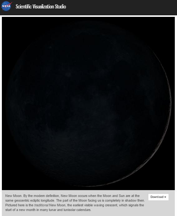Luna Nueva Tradicional (NASA)